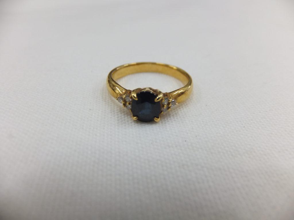 K18 指輪 サファイア&メレダイヤ付き 2.2g