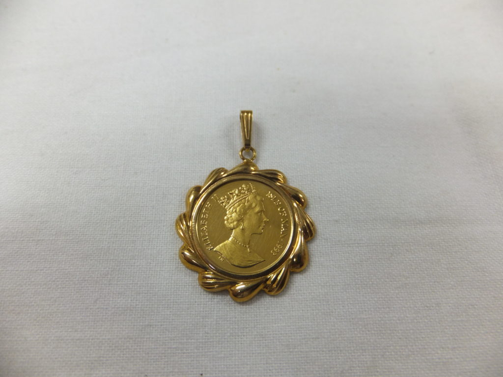 K18バチカン付きエリザベス金貨 ペンダントトップ