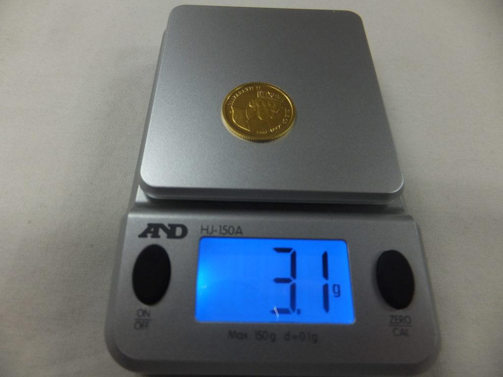 Au 1/10oz キャット金貨(エリザベス金貨) 重量 3.1g